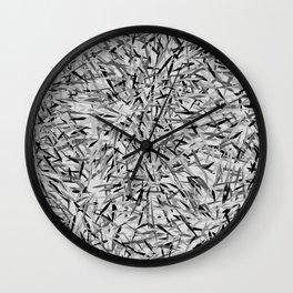 Black and Gray Modern Floral Print Wall Clock