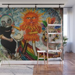 Gatos Malos, or Bad Kitties, portrait surrealist mural painting by A. Colunga Wall Mural