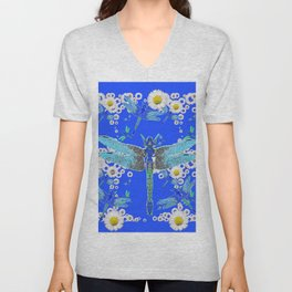 BLUE DRAGONFLIES WHITE DAISY FLOWERS  ART Unisex V-Neck