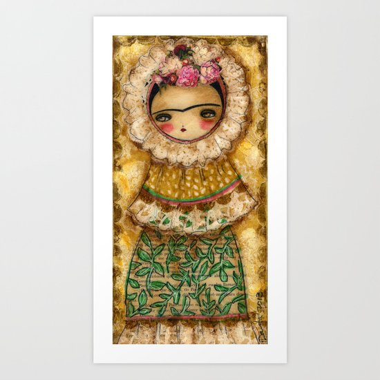 Frida In A Brown And Green Tehuana Mexican Traditional Dress Art Print