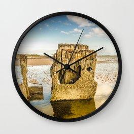 Groynes on Seamill Beach Wall Clock