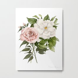 Pink Rose and Magnolia Metal Print