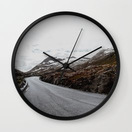 Exploring norwegian roads Wall Clock