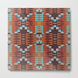 Native American Indian Tribal Mosaic Rustic Cabin Pattern Metal Print