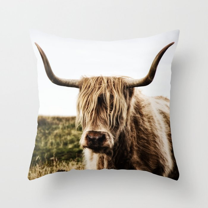 Highland Cow - color Throw Pillow