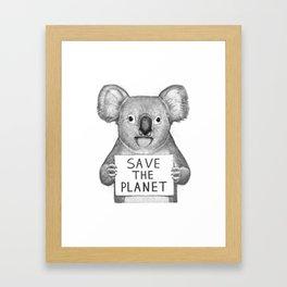 Koala save the planet Framed Art Print