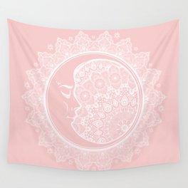 Mandala Moon Pink Wall Tapestry