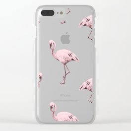 Simply Pink Flamingo in Pink Flamingo Clear iPhone Case