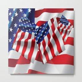Patriotic American Flag Abstract Art Metal Print