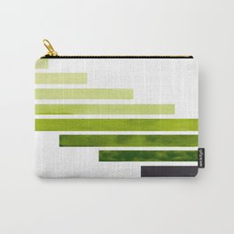 Green Minimalist Mid Century Modern Inca Watercolor Stripes Staggered Symmetrical Pattern Carry-All Pouch