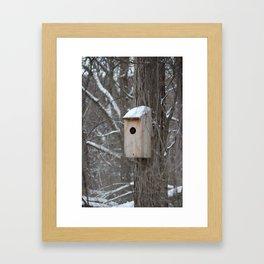 Bird House with Snow on the Roof Framed Art Print