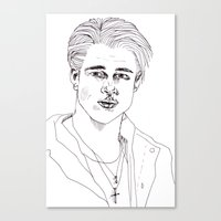 brad pitt Canvas Prints featuring Brad Pitt by Bethany Mannion