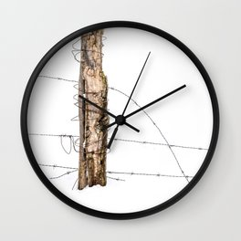 Barbed wire & Fence Post (in the snow) Wall Clock