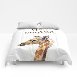 You Are My Sunshine Giraffe Nursery Animals Watercolor Art Comforters