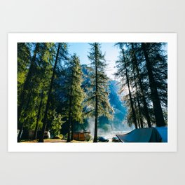 Morning at the campsite Art Print