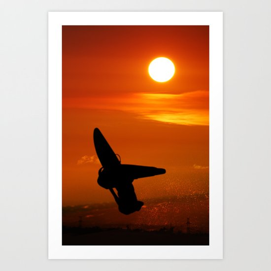 Windsurfing sunset Art Print