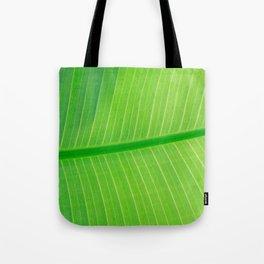 Close Up Of Green Banana Leaf Lime Green Tropical Leaf Tote Bag