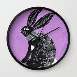 Folk Art Bunny Wall Clock