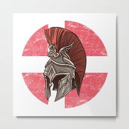 Denmark Danish Spartan  TShirt Warrior Shirt Flag Gift Idea Metal Print