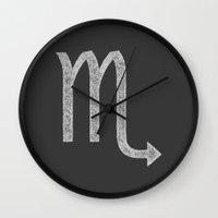 scorpio Wall Clocks featuring Scorpio by David Zydd
