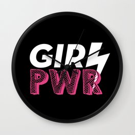 GRL PWR Hot Pink Typography Wall Clock