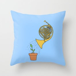 Watering Horn Throw Pillow