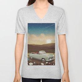 Vintage Car in the sunset Unisex V-Neck
