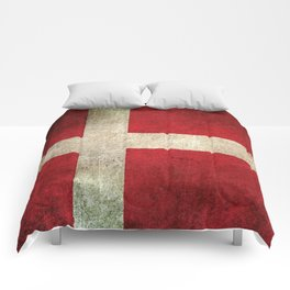 Old and Worn Distressed Vintage Flag of Denmark Comforters