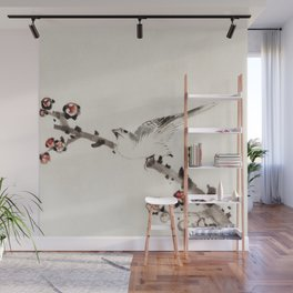 Katsushika Hokusai - Three Birds Perched on Branches, One with Blossoms Wall Mural