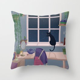 Cat & plant hoarder room Throw Pillow