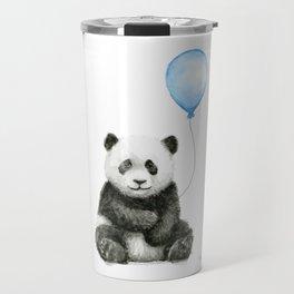 Panda Baby Animal with Blue Balloon Travel Mug