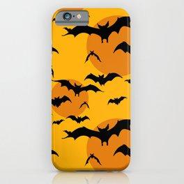 Abstract orange yellow black halloween bats animal pattern iPhone Case