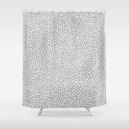 Little wild cheetah spots animal print neutral home trend cool gray black  Shower Curtain