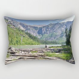 Avalanche Lake, Montana Mountain Scene Rectangular Pillow