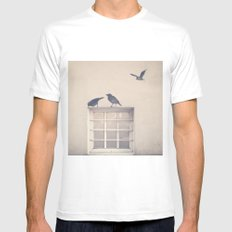 Let me be a bird in your window - vintage retro, beige cream, urban, black and white photography MEDIUM Mens Fitted Tee White