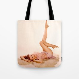 """""""Kicking Back"""" - The Playful Pinup - Sexy Pin-up Girl on Fur Rug by Maxwell H. Johnson Tote Bag"""