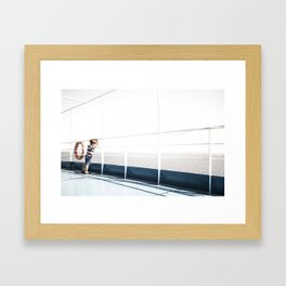 Child staring at the sea Framed Art Print