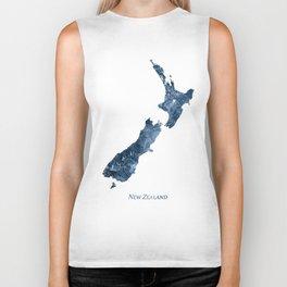 New Zealand Map Blue Watercolor by Zouzounio Art Biker Tank
