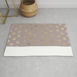 Elegant and Girly Faux Gold Glitter Dots Beige Rug