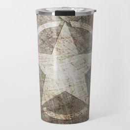 Army Star on Distressed Riveted Metal Door Travel Mug