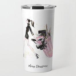 Pink Christmas - Brown Hair Option Travel Mug