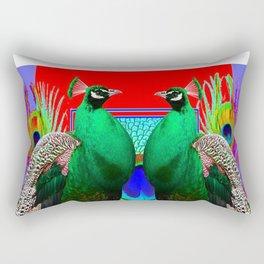 GREEN PEACOCKS & RED-PURPLE  MODERN ART Rectangular Pillow