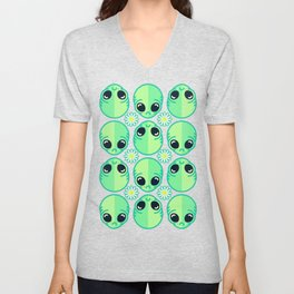 Sad Alien and Daisy Nineties Grunge Pattern Unisex V-Neck