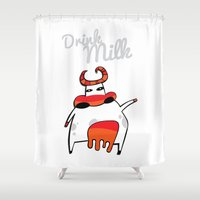 drink Shower Curtains featuring drink milk by Cardinal Design