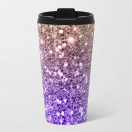 Luxury modern violet lilac faux gold sequins glitter Travel Mug
