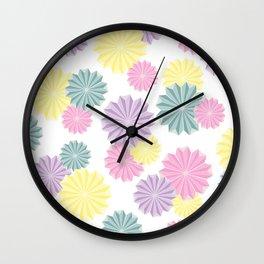 Origami Flowers - Pastel Wall Clock