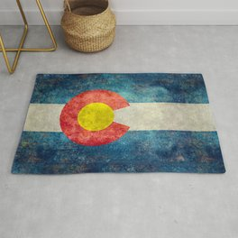 Colorado State Flag in Vintage Grunge Rug