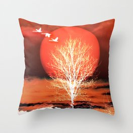 Sun in red Throw Pillow