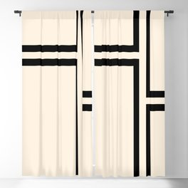 Strong Deco - Minimalist Geometric Design in Black and Almond Cream Blackout Curtain