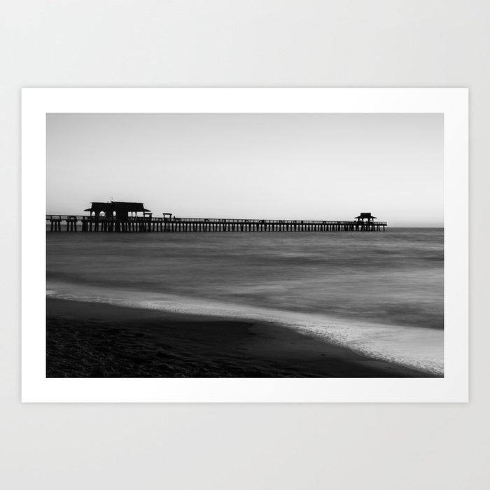 Naples pier black and white art print